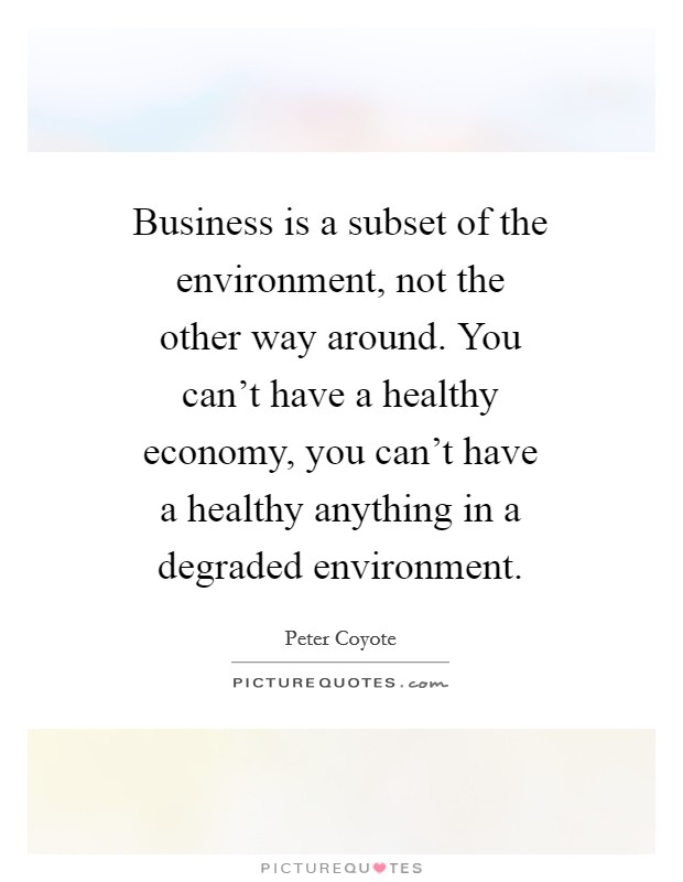 Business is a subset of the environment, not the other way around. You can't have a healthy economy, you can't have a healthy anything in a degraded environment Picture Quote #1