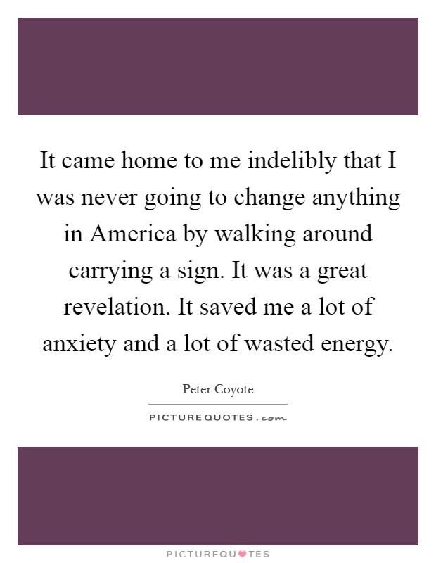 It came home to me indelibly that I was never going to change anything in America by walking around carrying a sign. It was a great revelation. It saved me a lot of anxiety and a lot of wasted energy Picture Quote #1
