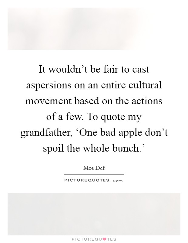 It wouldn't be fair to cast aspersions on an entire cultural movement based on the actions of a few. To quote my grandfather, 'One bad apple don't spoil the whole bunch.' Picture Quote #1