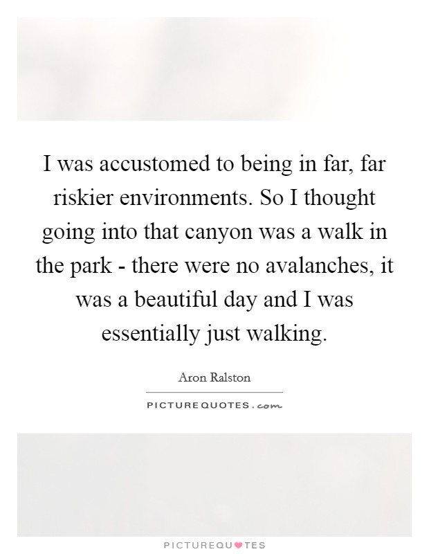 I was accustomed to being in far, far riskier environments. So I thought going into that canyon was a walk in the park - there were no avalanches, it was a beautiful day and I was essentially just walking Picture Quote #1