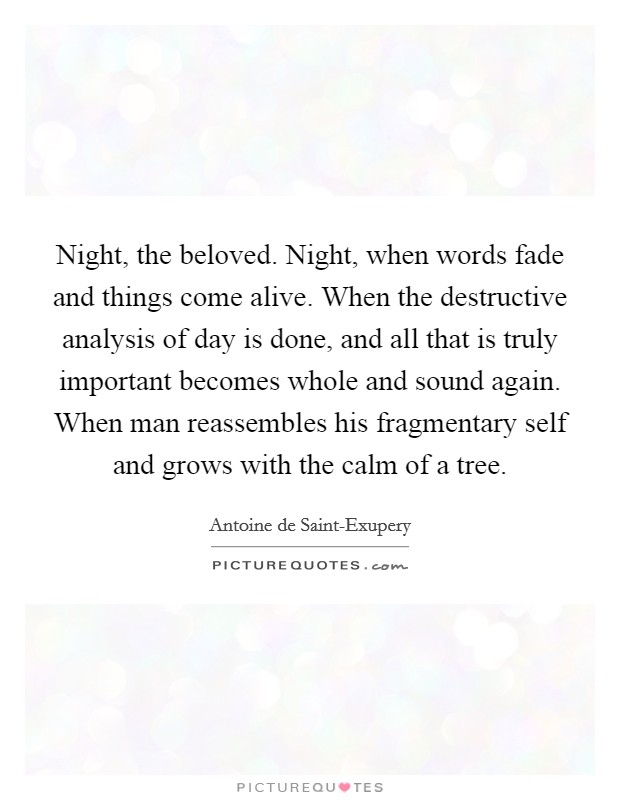 Night, the beloved. Night, when words fade and things come alive. When the destructive analysis of day is done, and all that is truly important becomes whole and sound again. When man reassembles his fragmentary self and grows with the calm of a tree Picture Quote #1