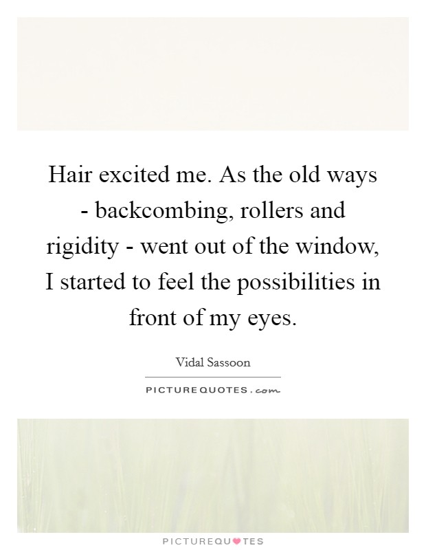 Hair excited me. As the old ways - backcombing, rollers and rigidity - went out of the window, I started to feel the possibilities in front of my eyes Picture Quote #1