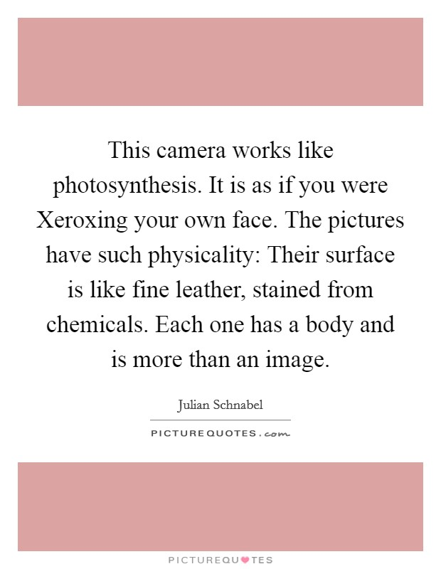 This camera works like photosynthesis. It is as if you were Xeroxing your own face. The pictures have such physicality: Their surface is like fine leather, stained from chemicals. Each one has a body and is more than an image Picture Quote #1