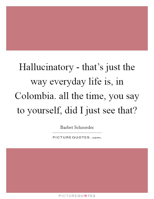 Hallucinatory - that's just the way everyday life is, in Colombia. all the time, you say to yourself, did I just see that? Picture Quote #1