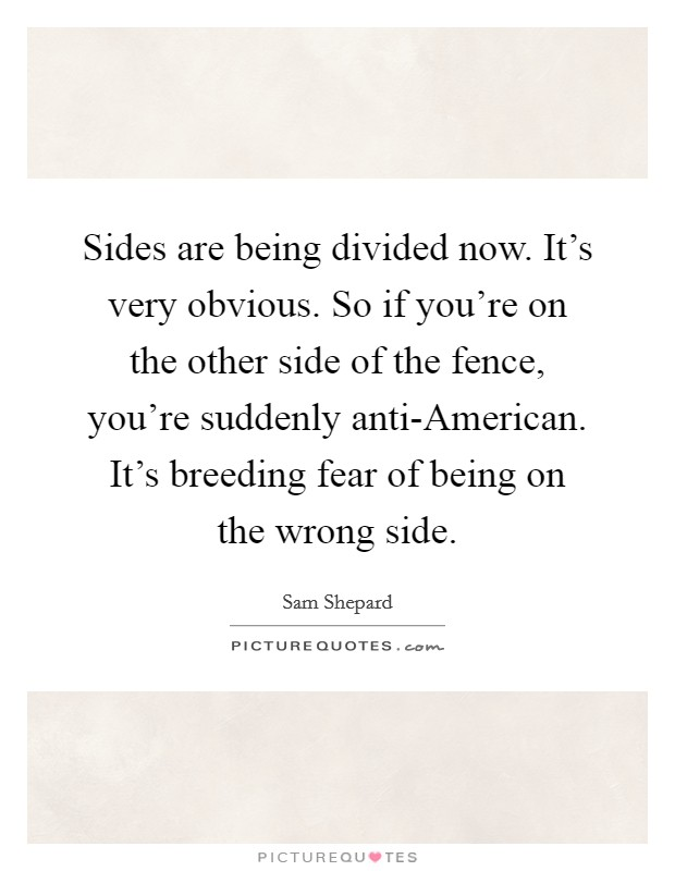 Sides are being divided now. It's very obvious. So if you're on the other side of the fence, you're suddenly anti-American. It's breeding fear of being on the wrong side Picture Quote #1