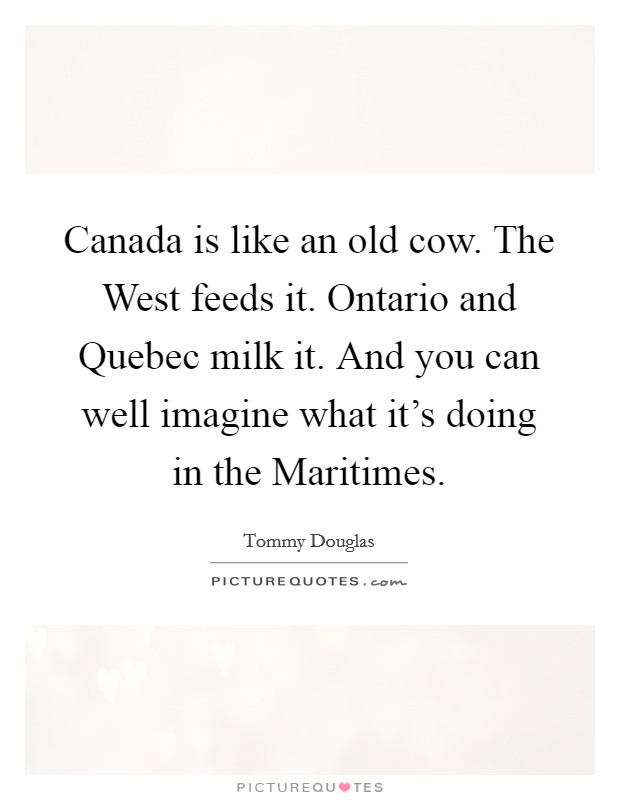 Canada is like an old cow. The West feeds it. Ontario and Quebec milk it. And you can well imagine what it's doing in the Maritimes Picture Quote #1