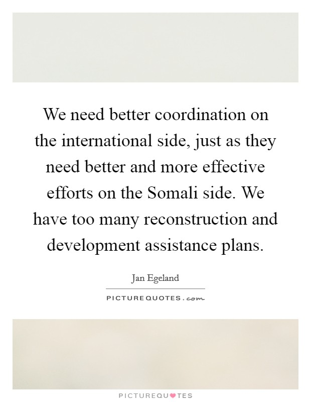 We need better coordination on the international side, just as they need better and more effective efforts on the Somali side. We have too many reconstruction and development assistance plans Picture Quote #1