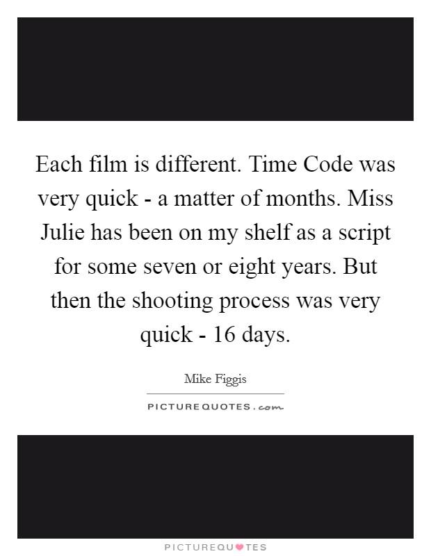 Each film is different. Time Code was very quick - a matter of months. Miss Julie has been on my shelf as a script for some seven or eight years. But then the shooting process was very quick - 16 days Picture Quote #1