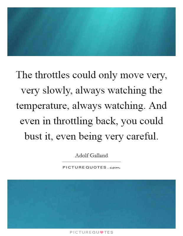 The throttles could only move very, very slowly, always watching the temperature, always watching. And even in throttling back, you could bust it, even being very careful Picture Quote #1