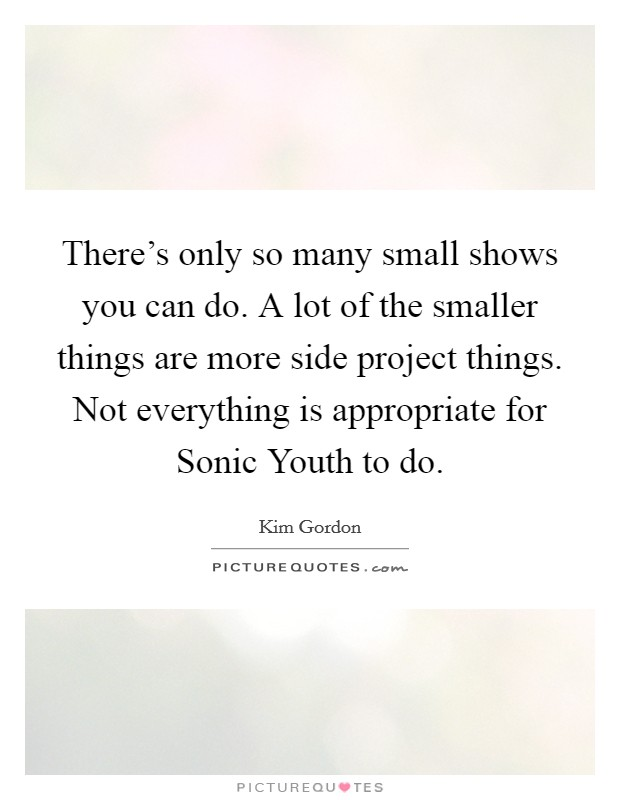 There's only so many small shows you can do. A lot of the smaller things are more side project things. Not everything is appropriate for Sonic Youth to do Picture Quote #1