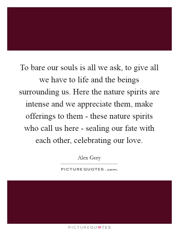 To bare our souls is all we ask, to give all we have to life and the beings surrounding us. Here the nature spirits are intense and we appreciate them, make offerings to them - these nature spirits who call us here - sealing our fate with each other, celebrating our love Picture Quote #1