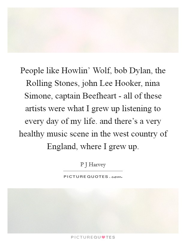 People like Howlin' Wolf, bob Dylan, the Rolling Stones, john Lee Hooker, nina Simone, captain Beefheart - all of these artists were what I grew up listening to every day of my life. and there's a very healthy music scene in the west country of England, where I grew up Picture Quote #1