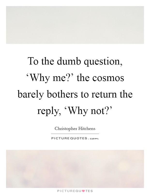 To the dumb question, 'Why me?' the cosmos barely bothers to return the reply, 'Why not?' Picture Quote #1