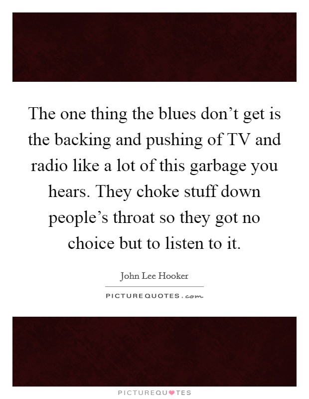 The one thing the blues don't get is the backing and pushing of TV and radio like a lot of this garbage you hears. They choke stuff down people's throat so they got no choice but to listen to it Picture Quote #1