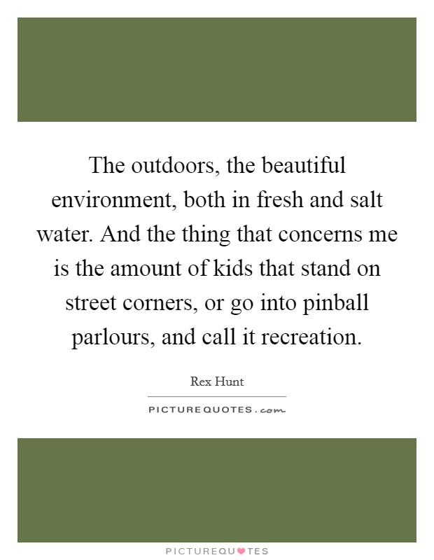 The outdoors, the beautiful environment, both in fresh and salt water. And the thing that concerns me is the amount of kids that stand on street corners, or go into pinball parlours, and call it recreation Picture Quote #1