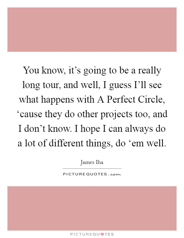 You know, it's going to be a really long tour, and well, I guess I'll see what happens with A Perfect Circle, 'cause they do other projects too, and I don't know. I hope I can always do a lot of different things, do 'em well Picture Quote #1