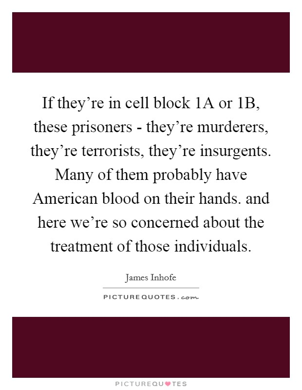 If they're in cell block 1A or 1B, these prisoners - they're murderers, they're terrorists, they're insurgents. Many of them probably have American blood on their hands. and here we're so concerned about the treatment of those individuals Picture Quote #1