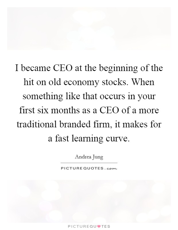 I became CEO at the beginning of the hit on old economy stocks. When something like that occurs in your first six months as a CEO of a more traditional branded firm, it makes for a fast learning curve Picture Quote #1