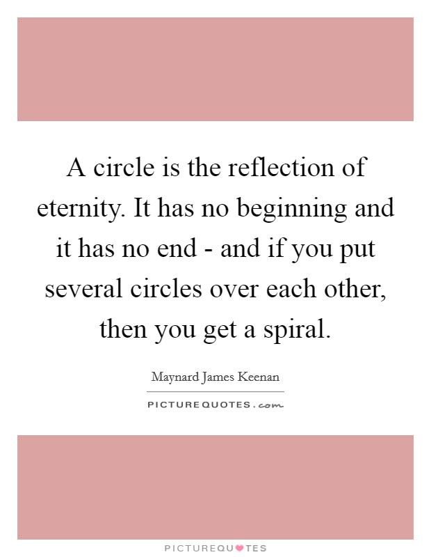 A circle is the reflection of eternity. It has no beginning and it has no end - and if you put several circles over each other, then you get a spiral Picture Quote #1