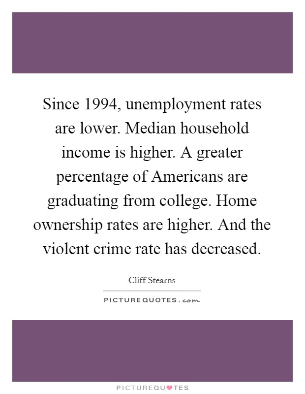 Since 1994, unemployment rates are lower. Median household income is higher. A greater percentage of Americans are graduating from college. Home ownership rates are higher. And the violent crime rate has decreased Picture Quote #1