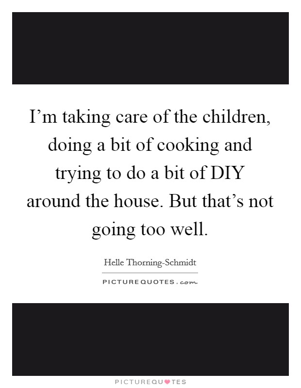 I'm taking care of the children, doing a bit of cooking and trying to do a bit of DIY around the house. But that's not going too well Picture Quote #1