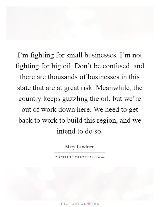 I'm fighting for small businesses. I'm not fighting for big oil. Don't be confused. and there are thousands of businesses in this state that are at great risk. Meanwhile, the country keeps guzzling the oil, but we're out of work down here. We need to get back to work to build this region, and we intend to do so Picture Quote #1