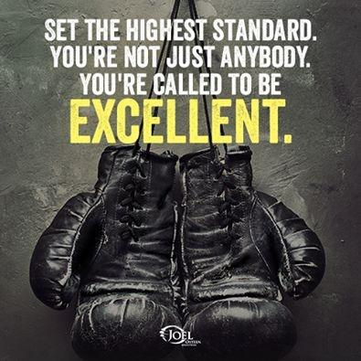 Set the highest standard. You're not just anybody. You're called to be excellent Picture Quote #1