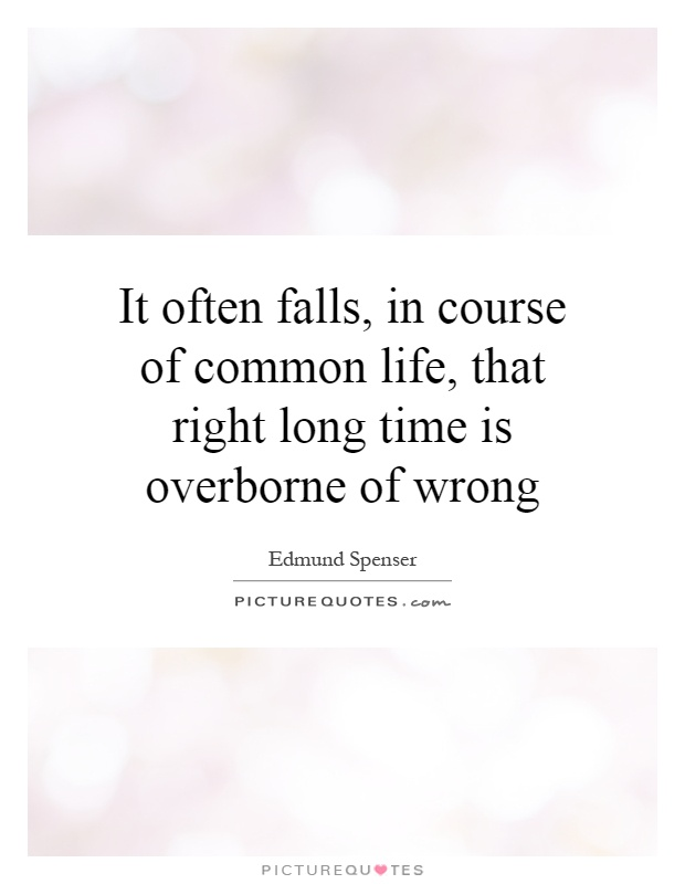 It often falls, in course of common life, that right long time is overborne of wrong Picture Quote #1