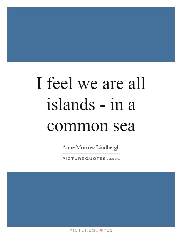 I feel we are all islands - in a common sea Picture Quote #1