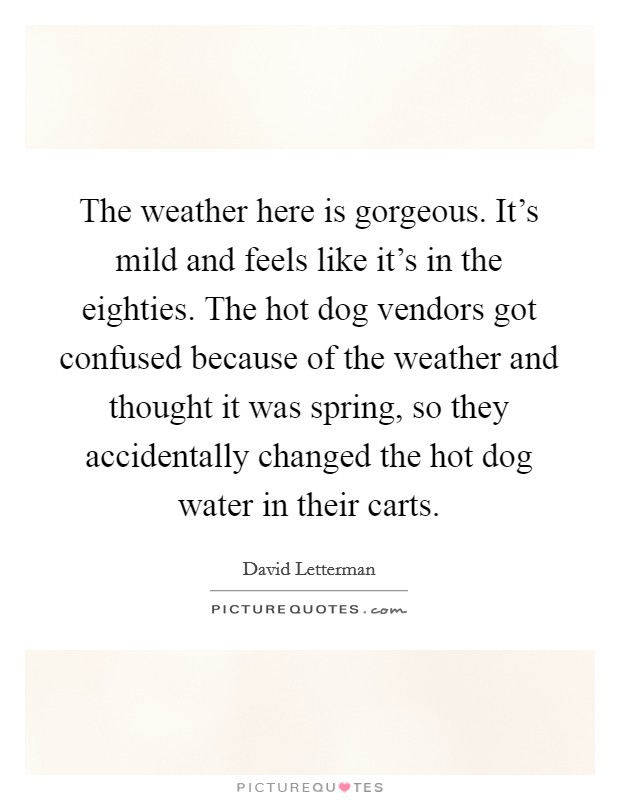 The weather here is gorgeous. It's mild and feels like it's in the eighties. The hot dog vendors got confused because of the weather and thought it was spring, so they accidentally changed the hot dog water in their carts Picture Quote #1