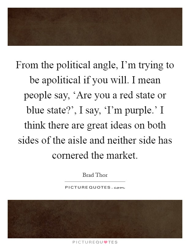 From the political angle, I'm trying to be apolitical if you will. I mean people say, 'Are you a red state or blue state?', I say, 'I'm purple.' I think there are great ideas on both sides of the aisle and neither side has cornered the market Picture Quote #1