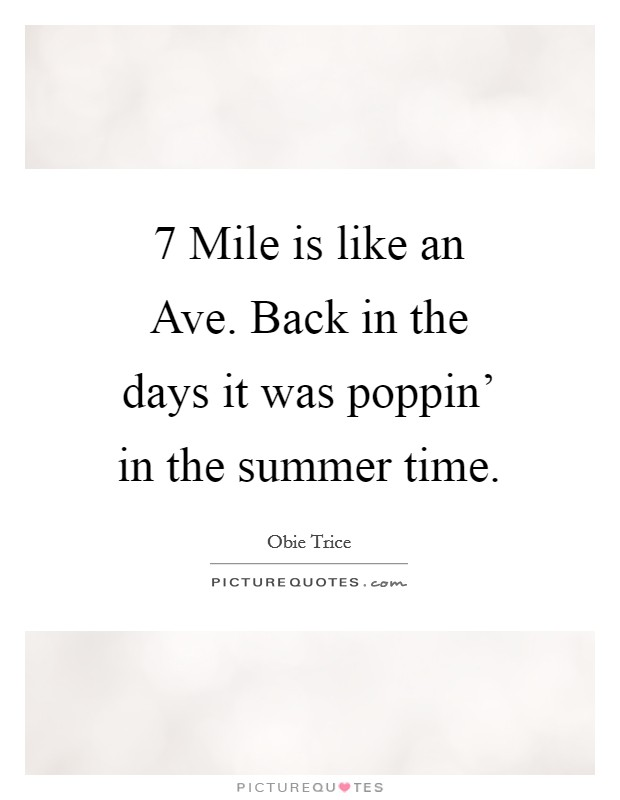 7 Mile is like an Ave. Back in the days it was poppin' in the summer time Picture Quote #1