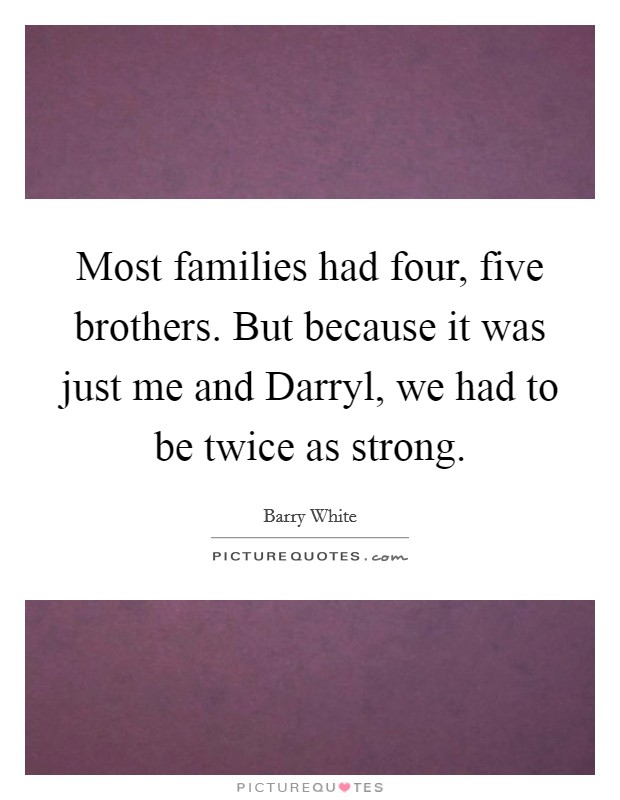 Most families had four, five brothers. But because it was just me and Darryl, we had to be twice as strong Picture Quote #1