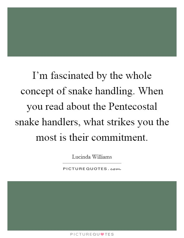 I'm fascinated by the whole concept of snake handling. When you read about the Pentecostal snake handlers, what strikes you the most is their commitment Picture Quote #1