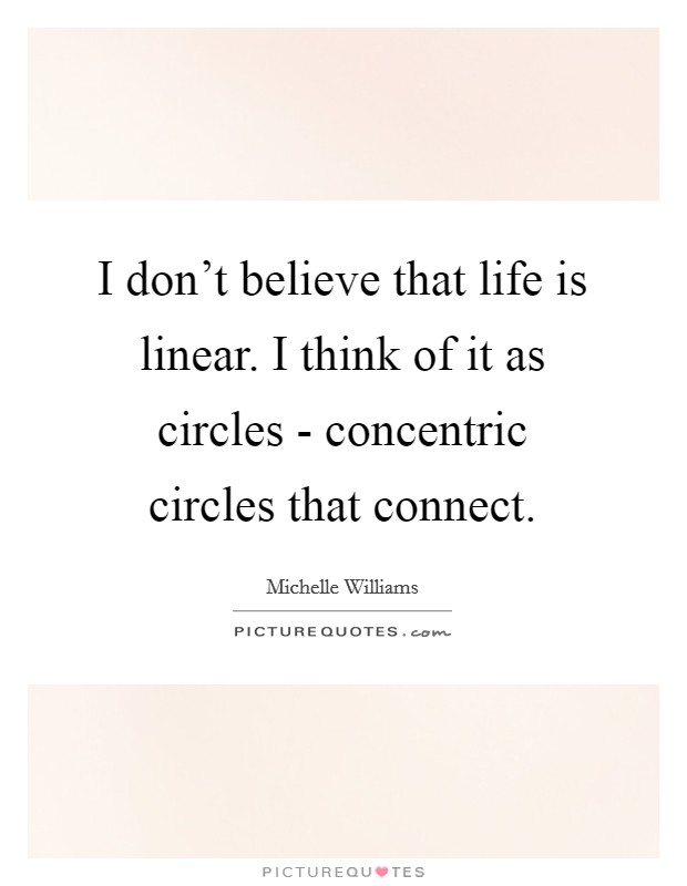 I don't believe that life is linear. I think of it as circles - concentric circles that connect Picture Quote #1