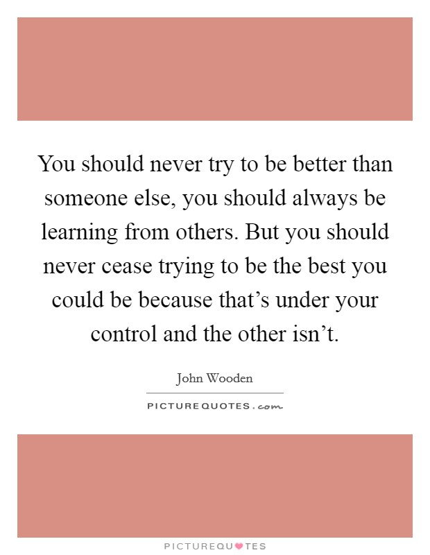 You should never try to be better than someone else, you should always be learning from others. But you should never cease trying to be the best you could be because that's under your control and the other isn't Picture Quote #1