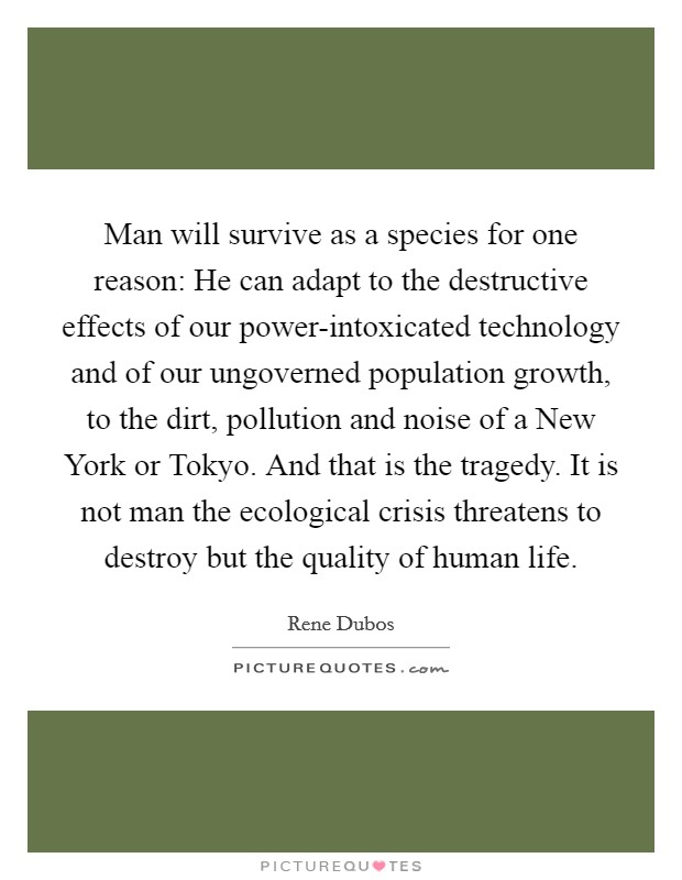 Man will survive as a species for one reason: He can adapt to the destructive effects of our power-intoxicated technology and of our ungoverned population growth, to the dirt, pollution and noise of a New York or Tokyo. And that is the tragedy. It is not man the ecological crisis threatens to destroy but the quality of human life Picture Quote #1