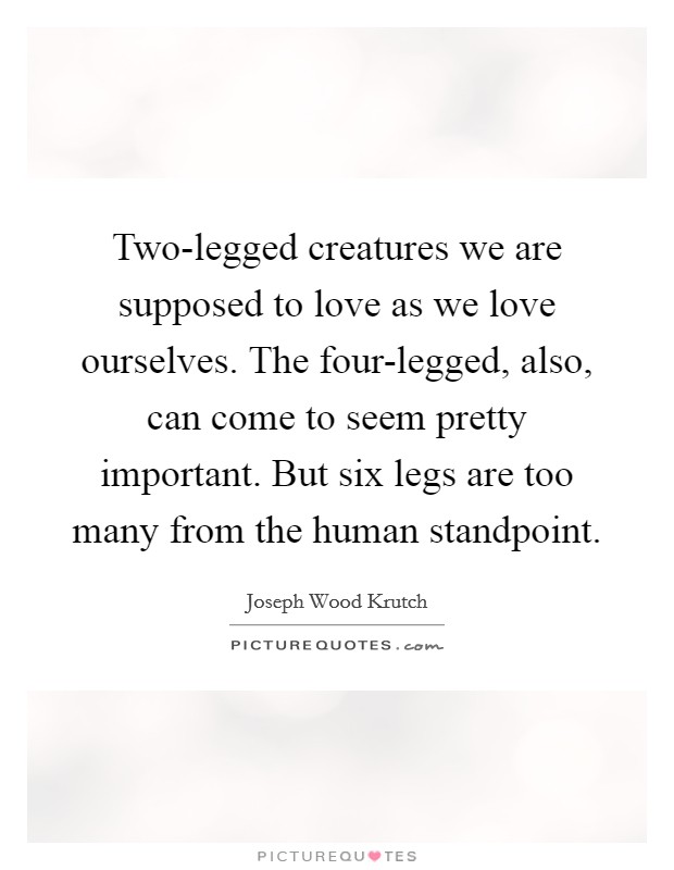 Two-legged creatures we are supposed to love as we love ourselves. The four-legged, also, can come to seem pretty important. But six legs are too many from the human standpoint Picture Quote #1