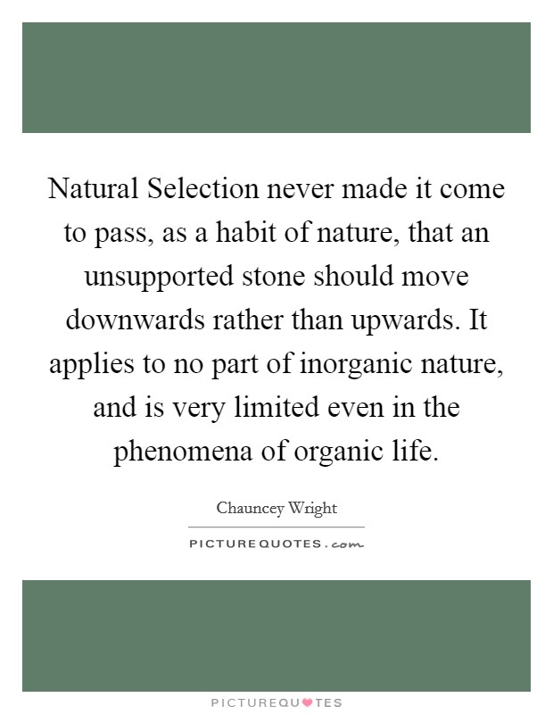 Natural Selection never made it come to pass, as a habit of nature, that an unsupported stone should move downwards rather than upwards. It applies to no part of inorganic nature, and is very limited even in the phenomena of organic life Picture Quote #1