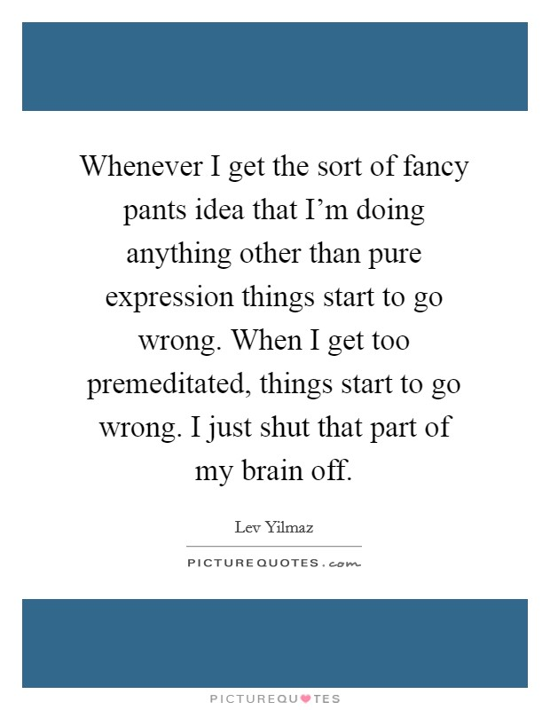 Whenever I get the sort of fancy pants idea that I'm doing anything other than pure expression things start to go wrong. When I get too premeditated, things start to go wrong. I just shut that part of my brain off Picture Quote #1