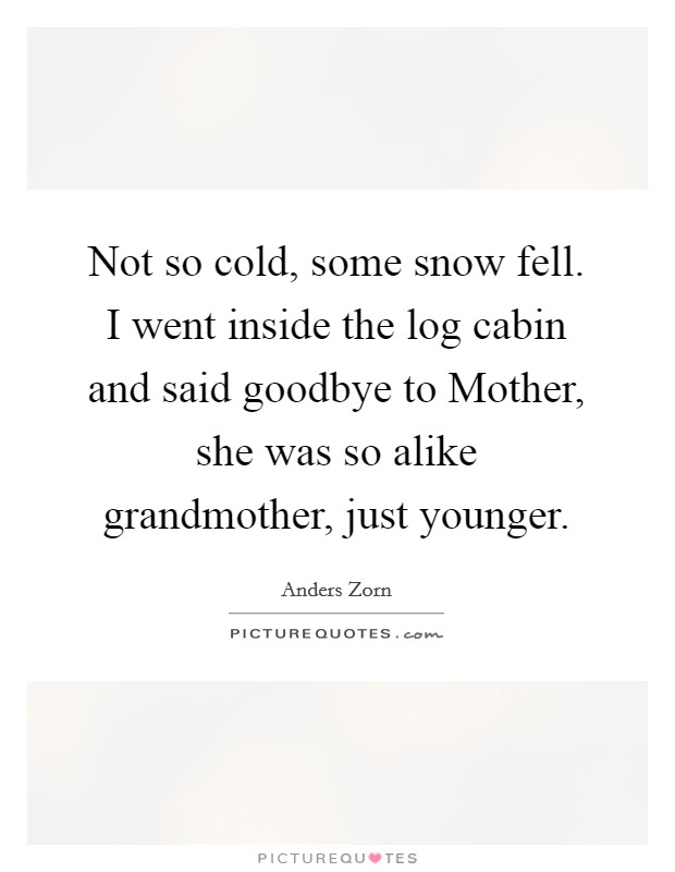Not so cold, some snow fell. I went inside the log cabin and said goodbye to Mother, she was so alike grandmother, just younger Picture Quote #1