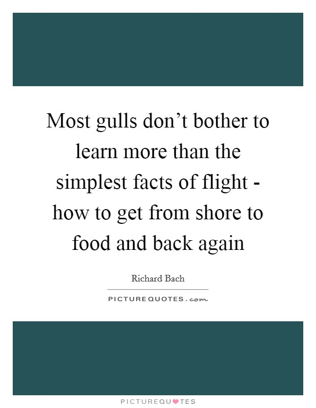 Most gulls don't bother to learn more than the simplest facts of flight - how to get from shore to food and back again Picture Quote #1