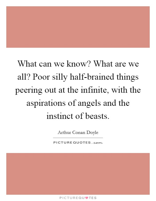 What can we know? What are we all? Poor silly half-brained things peering out at the infinite, with the aspirations of angels and the instinct of beasts Picture Quote #1
