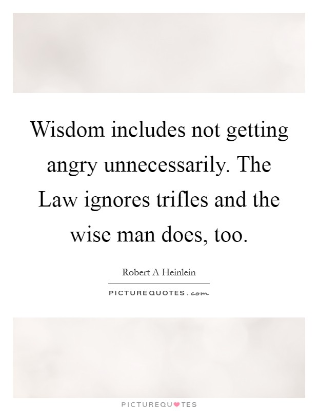 Wisdom includes not getting angry unnecessarily. The Law ignores trifles and the wise man does, too Picture Quote #1