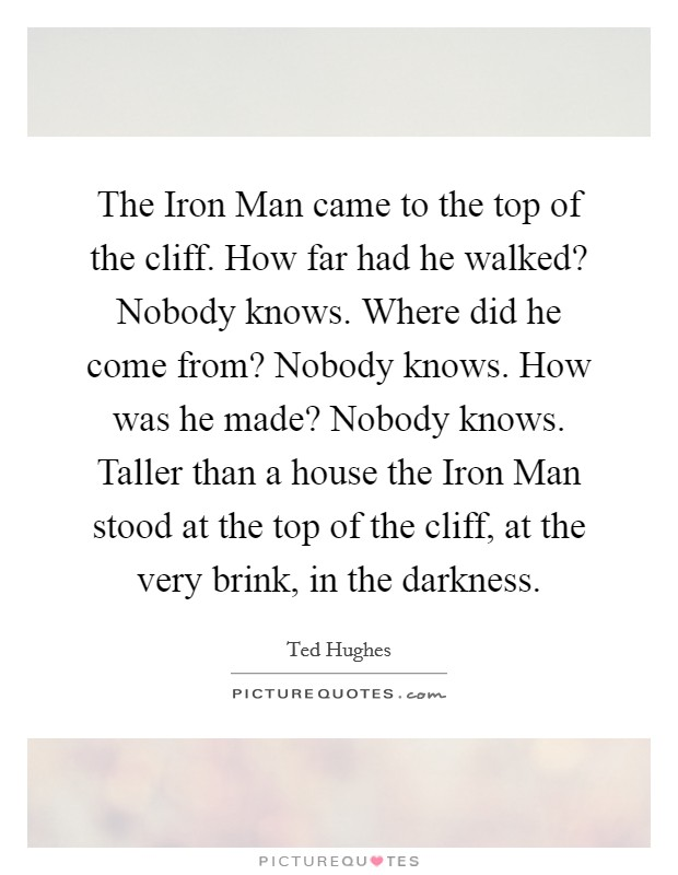 The Iron Man came to the top of the cliff. How far had he walked? Nobody knows. Where did he come from? Nobody knows. How was he made? Nobody knows. Taller than a house the Iron Man stood at the top of the cliff, at the very brink, in the darkness Picture Quote #1