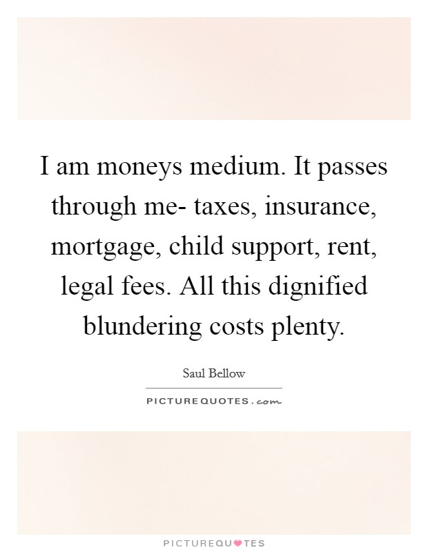 I am moneys medium. It passes through me- taxes, insurance, mortgage, child support, rent, legal fees. All this dignified blundering costs plenty Picture Quote #1