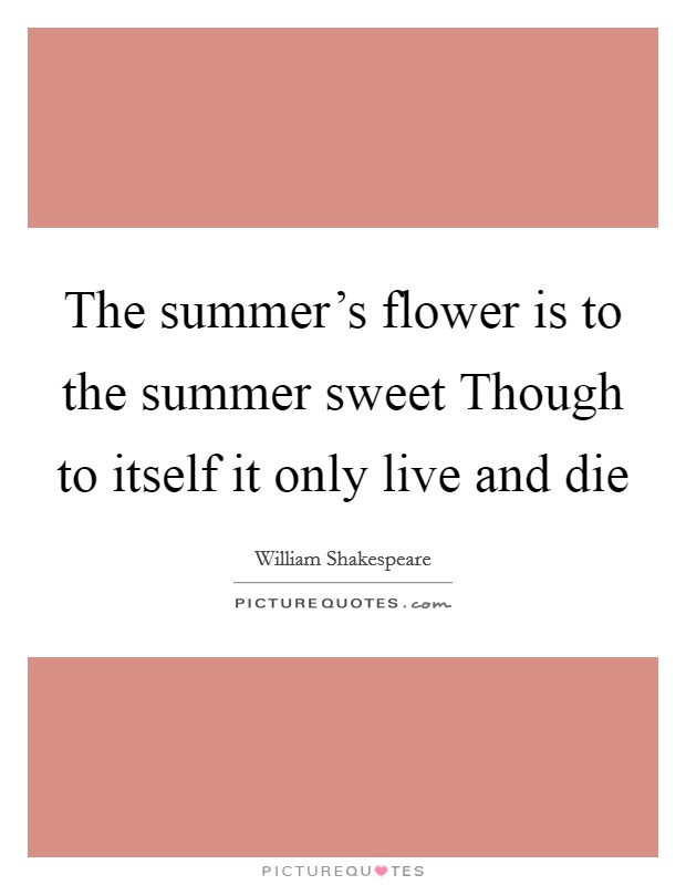 The summer's flower is to the summer sweet Though to itself it only live and die Picture Quote #1