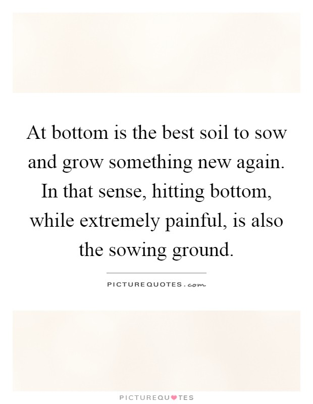 At bottom is the best soil to sow and grow something new again. In that sense, hitting bottom, while extremely painful, is also the sowing ground Picture Quote #1