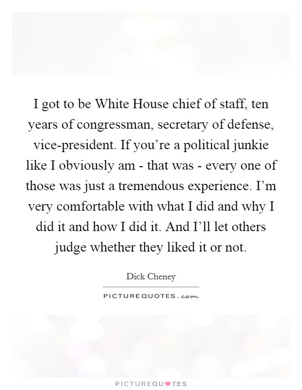 I got to be White House chief of staff, ten years of congressman, secretary of defense, vice-president. If you're a political junkie like I obviously am - that was - every one of those was just a tremendous experience. I'm very comfortable with what I did and why I did it and how I did it. And I'll let others judge whether they liked it or not Picture Quote #1