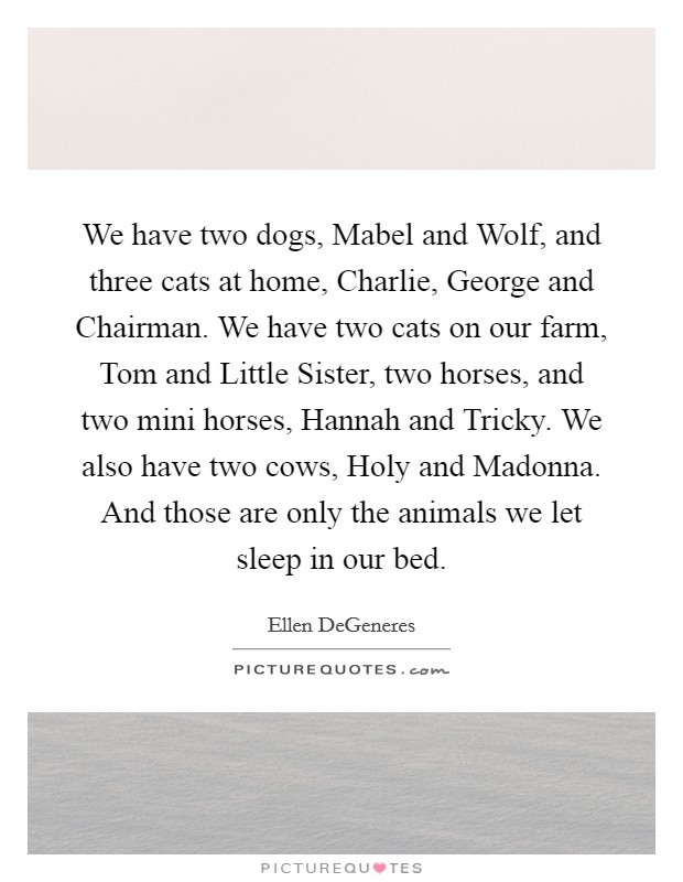 We have two dogs, Mabel and Wolf, and three cats at home, Charlie, George and Chairman. We have two cats on our farm, Tom and Little Sister, two horses, and two mini horses, Hannah and Tricky. We also have two cows, Holy and Madonna. And those are only the animals we let sleep in our bed Picture Quote #1